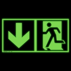 Notausgang links und Richtungspfeil abwärts | Fluchwegzeichen B2B Schilder