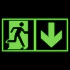 Notausgang rechts und Richtungspfeil abwärts | Fluchwegzeichen B2B Schilder