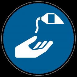 Hautschutzmittel benutzen, Hände eincremen |Gebotszeichen B2B Schilder