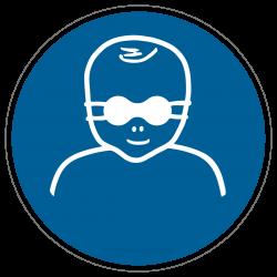 Kleinkinder durch weitgehend lichtundurchlässige Augenabschirmung schützen |Gebotszeichen B2B