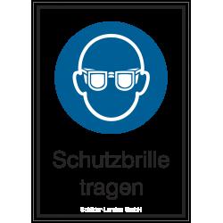 Schutzbrille tragen (Kombischild) |Gebotszeichen B2B Schilder
