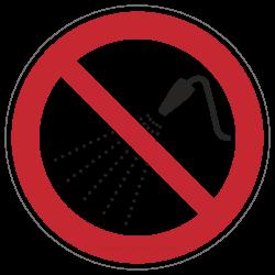 Mit Wasser spritzen verboten | Verbotszeichen B2B Schilder
