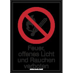 Feuer, offenes Licht und Rauchen verboten (Kombischild) | Verbotszeichen B2B Schilder