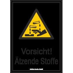 Vorsicht! Ätzende Stoffe (Kombischild) |Warnzeichen 2B Schilder