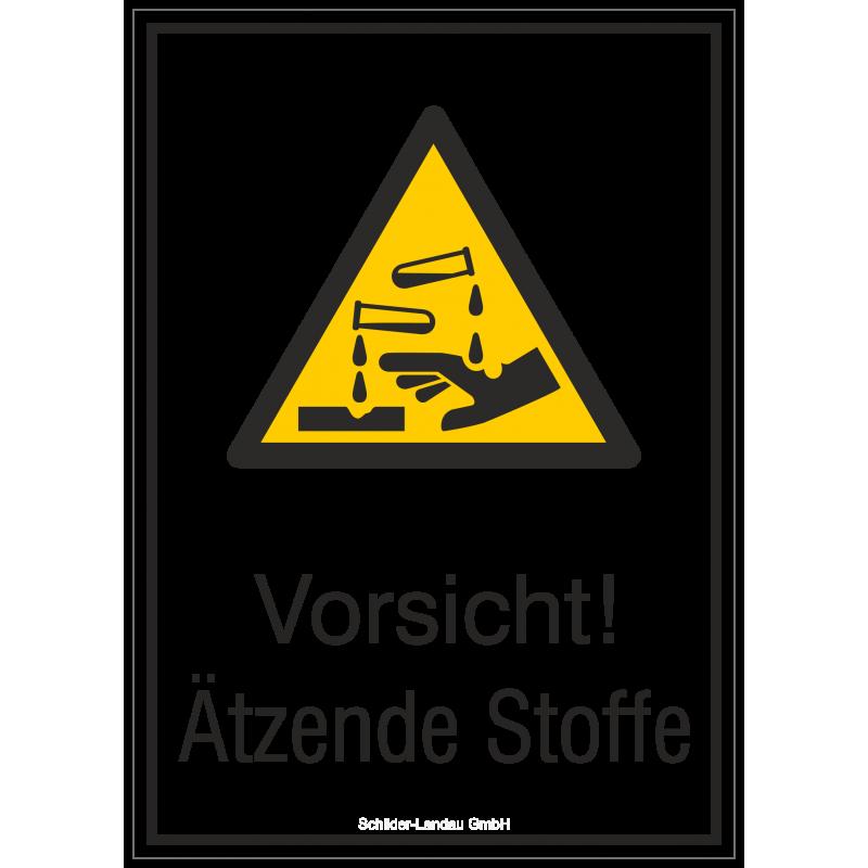Vorsicht! Ätzende Stoffe (Kombischild)  Warnzeichen 2B Schilder