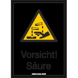 Vorsicht! Säure (Kombischild) |Warnzeichen 2B Schilder