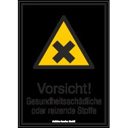 Vorsicht! Gesundheitsschädliche oder reizende Stoffe (Kombischild) |Warnzeichen 2B Schilder