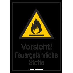 Vorsicht! Feuergefährliche Stoffe (Kombischild) |Warnzeichen 2B Schilder