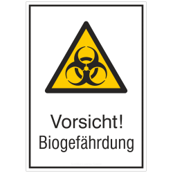 Vorsicht! Biogefährdung (Kombischild) |Warnzeichen 2B Schilder
