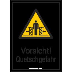 Vorsicht! Quetschgefahr (Kombischild)  Warnzeichen 2B Schilder