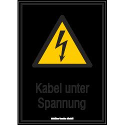 Kabel unter Spannung |Elektrozeichen B2B Schilder