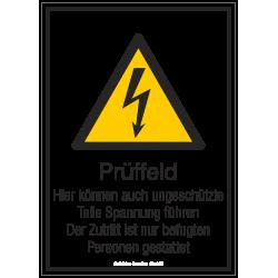 Prüffeld - Hier können auch ungeschüzte Teile Spannung führen. Der Zutritt ist nur befugten