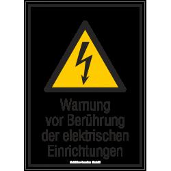 Warnung vor Berührung der elektrischen Einrichtungen |Elektrozeichen B2B Schilder