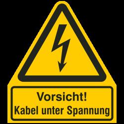 Vorsicht! Kabel unter Spannung |Elektrozeichen B2B Schilder