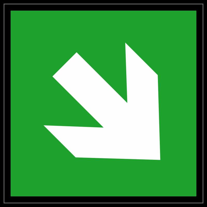 Richtungspfeil schräg | Fluchwegzeichen B2B Schilder