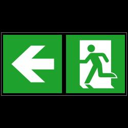 Notausgang links und Richtungspfeil links | Fluchwegzeichen B2B Schilder