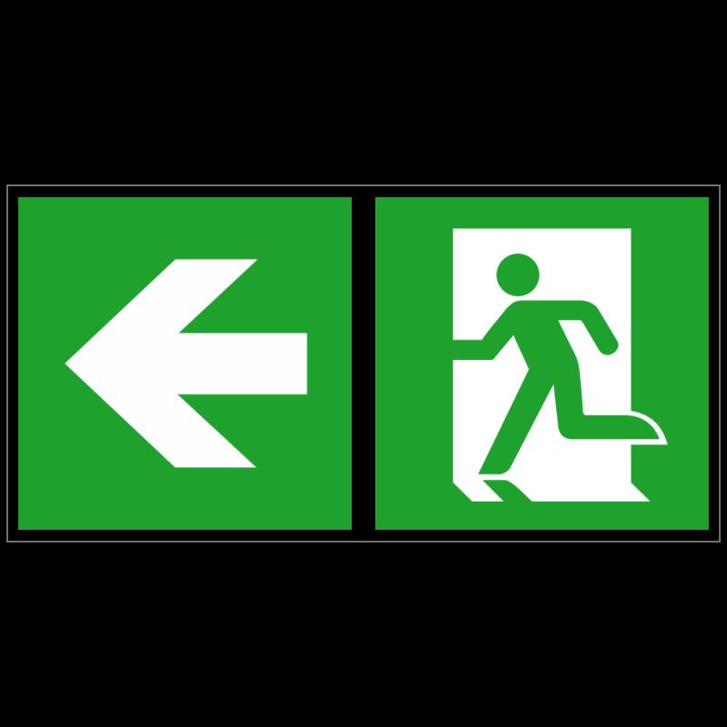 Notausgang links und Richtungspfeil links   Fluchwegzeichen B2B Schilder