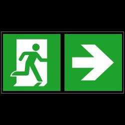 Notausgang rechts und Richtungspfeil rechts | Fluchwegzeichen B2B Schilder