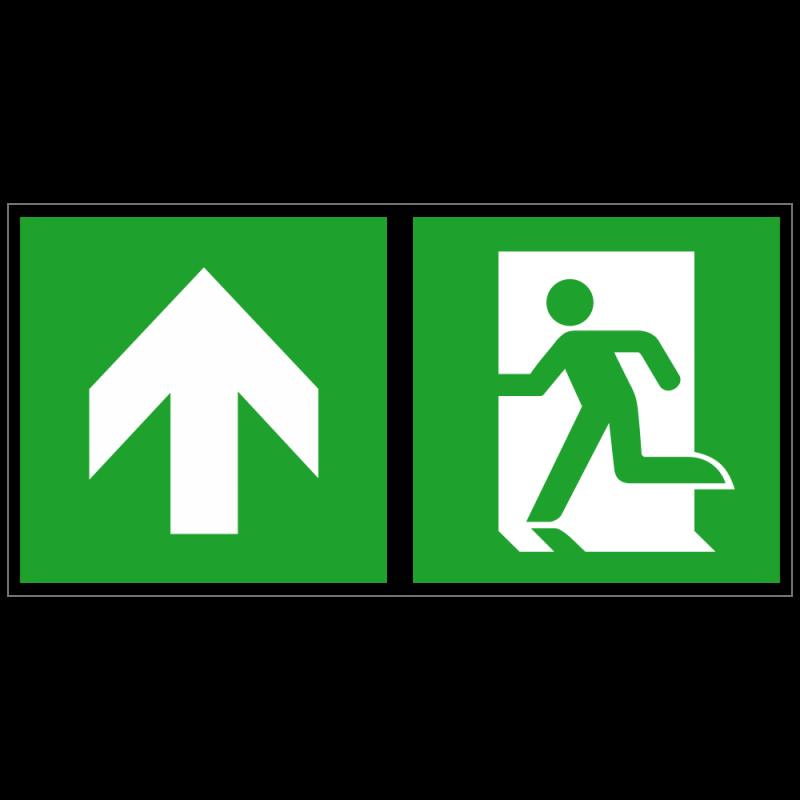 Notausgang links und Richtungspfeil aufwärts bzw. geradeaus | Fluchwegzeichen B2B Schilder