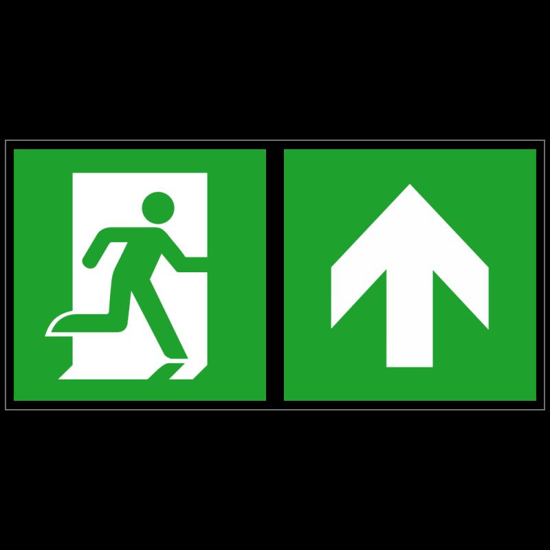Notausgang rechts und Richtungspfeil aufwärts bzw. geradeaus | Fluchwegzeichen B2B Schilder