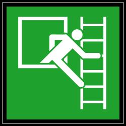 Notausstieg mit Fluchtleiter rechts | Fluchwegzeichen B2B Schilder