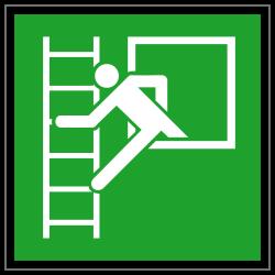 Notausstieg mit Fluchtleiter links | Fluchwegzeichen B2B Schilder