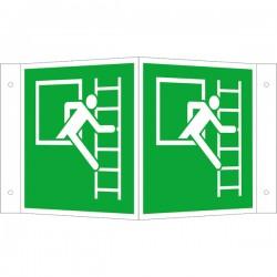 Winkelschild Notausstieg mit Fluchtleiter rechts | Fluchwegzeichen B2B Schilder