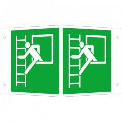 Winkelschild Notausstieg mit Fluchtleiter links | Fluchwegzeichen B2B Schilder