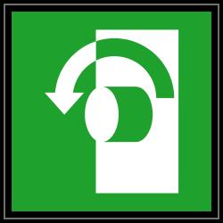 Öffnung durch Linksdrehung | Fluchwegzeichen B2B Schilder