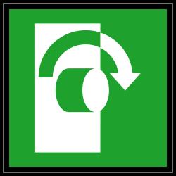 Öffnung durch Rechtsdrehung | Fluchwegzeichen B2B Schilder