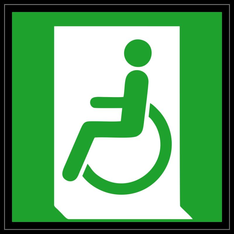 Rettungsweg - Notausgang für Rollstuhlfahrer links   Fluchwegzeichen B2B Schilder