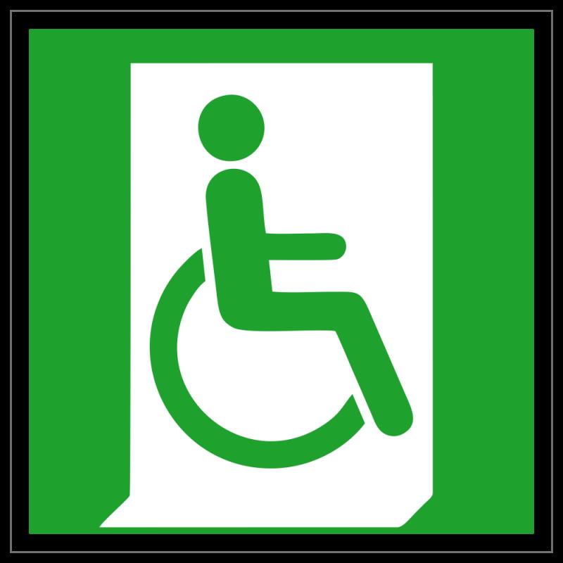 Rettungsweg - Notausgang für Rollstuhlfahrer rechts   Fluchwegzeichen B2B Schilder
