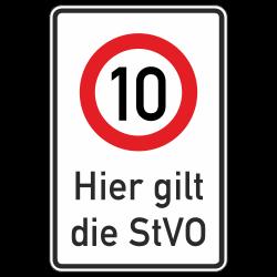 Hier gilt die StVO (10 km/h)