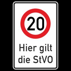 Hier gilt die StVO (20 km/h)