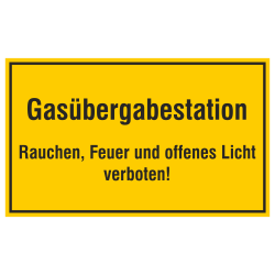 Gasübergabestation Rauchen, Feuer und offenes Licht verboten! Aufkleber oder geprägtes Aluschild | b2b-schilder
