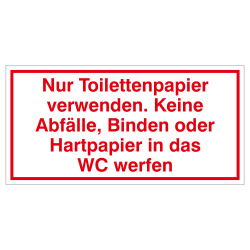 Nur Toilettenpapier verwenden, wetterfester Aufkleber | b2b-schilder