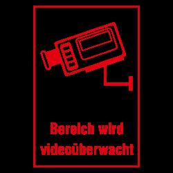 Bereich wird videoüberwacht mit Kamera Symbol in Aluminium 1mm   b2b-schilder