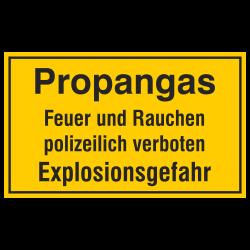 Propangas Feuer und Rauchen polizeilich verboten Explosionsgefahr, geprägtes Aluminiumschild | b2b-schilder