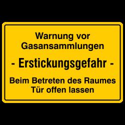 Warnung vor Gasansammlungen Erstickungsgefahr - Beim Betreten des Raumes Tür offen lassen, Aluminium gelb geprägt | b2b-schilder