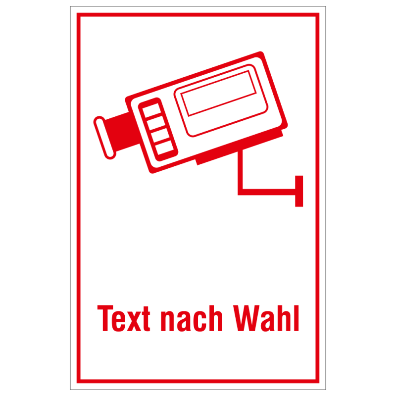 Video Infozeichen Kamerasysmbol mit Text nach Wahl | b2b-schilder