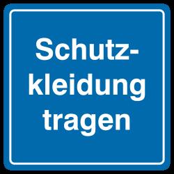 Schutzkleidung tragen (Textschild), blaues Aluminium, geprägt | b2b-schilder