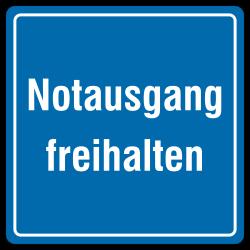 Notausgang freihalten (Textschild), blaues Aluminium, geprägt | b2b-schilder