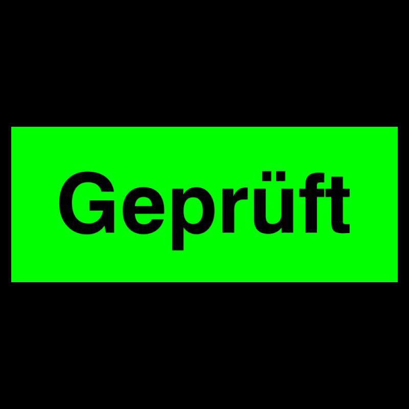 Geprüft Etikett auf Rolle in tagesleuchtgrün zur Qualitätskennzeichnung | b2b-schilder