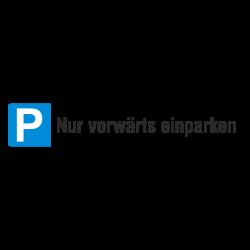 Parkplatzschild Parkplatzreservierung Nur vorwärts einparken, Aluminium geprägt | b2b-schilder