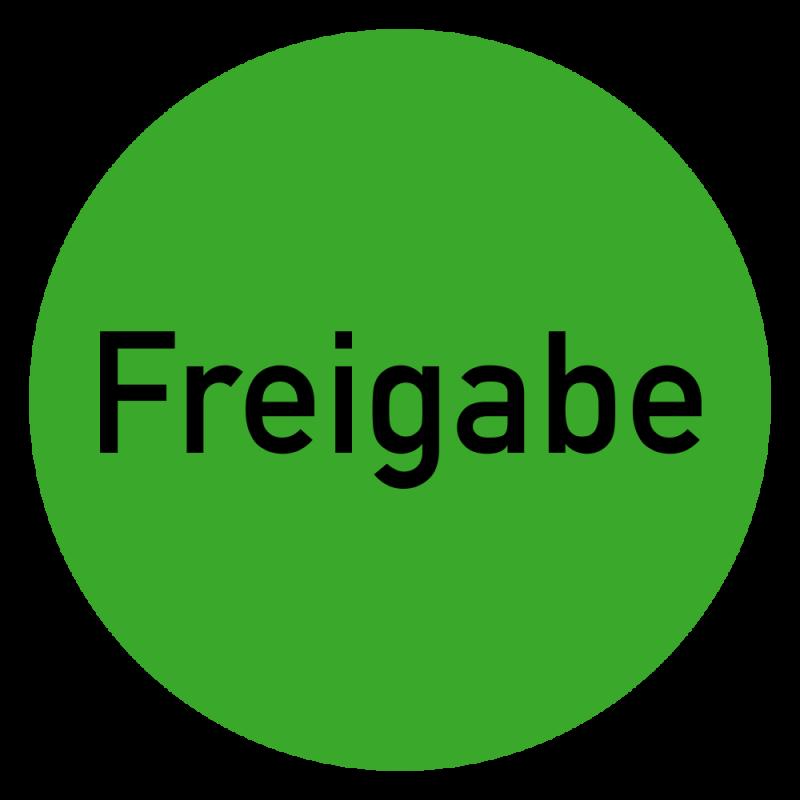 Freigabe Etikett auf Rolle in grün zur Qualitätskennzeichnung   b2b-schilder