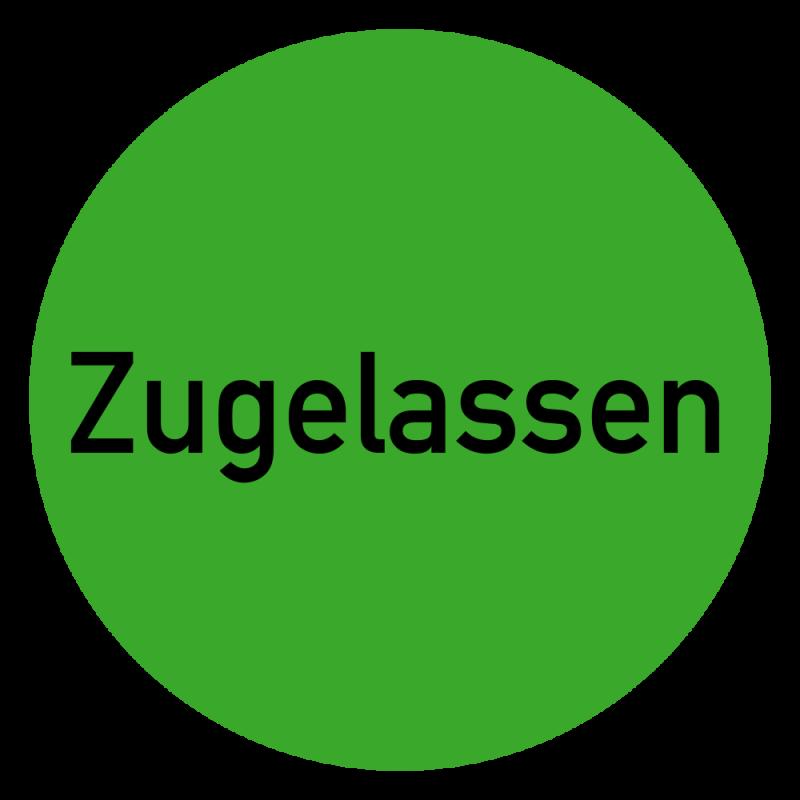 Zugelassen Etikett auf Rolle in grün zur Qualitätskennzeichnung | b2b-schilder
