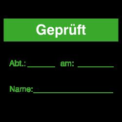Geprüft 40x30 grün auf Rolle oder Bögen | b2b-schilder