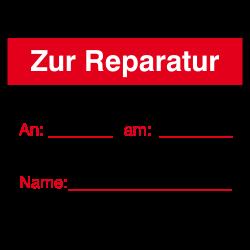 Zur Reparatur 40x30 rot auf Rolle oder Bögen | b2b-schilder