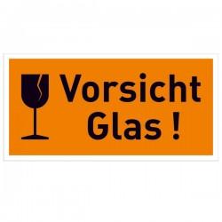Symbol mit Text Vorsicht Glas