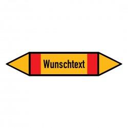 Text nach Wunsch: Pfeilschild bis Ø 40mm gelb / schwarz / rot | b2b-schilder.de